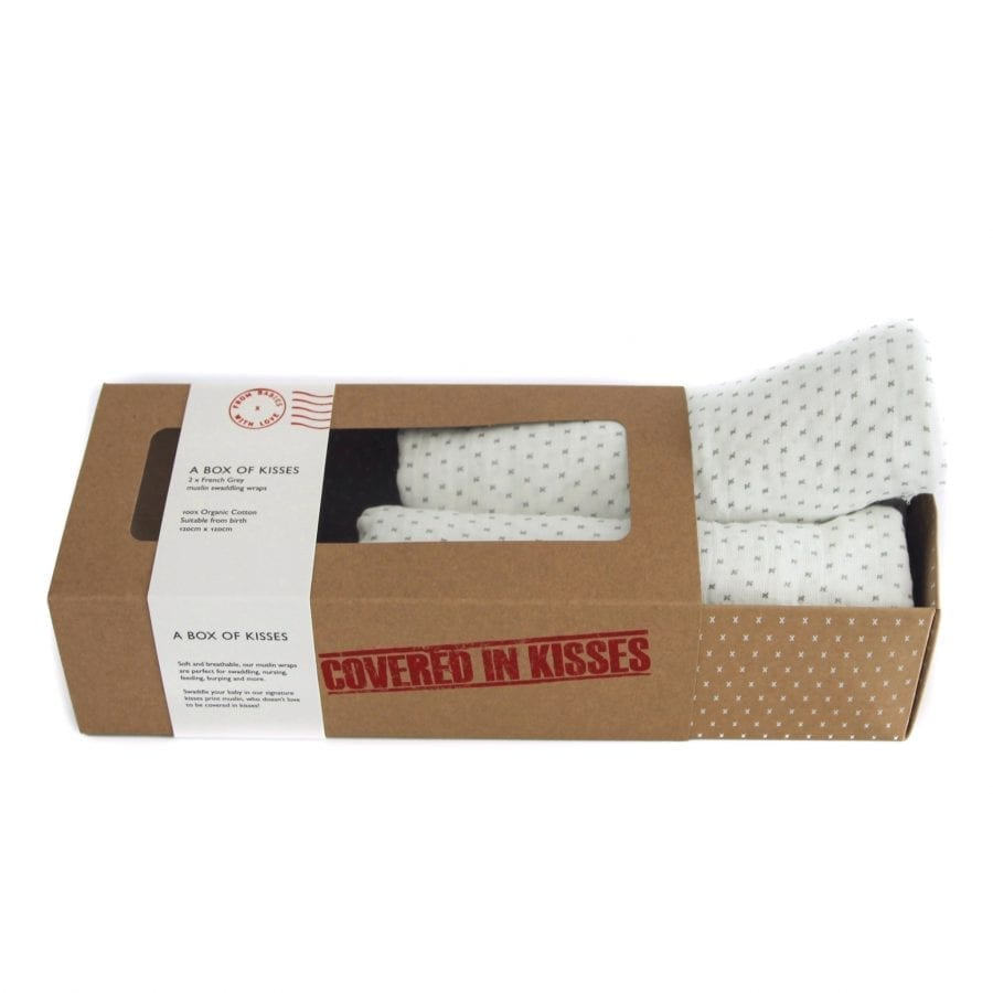 A box of kisses french grey organic muslin swaddles