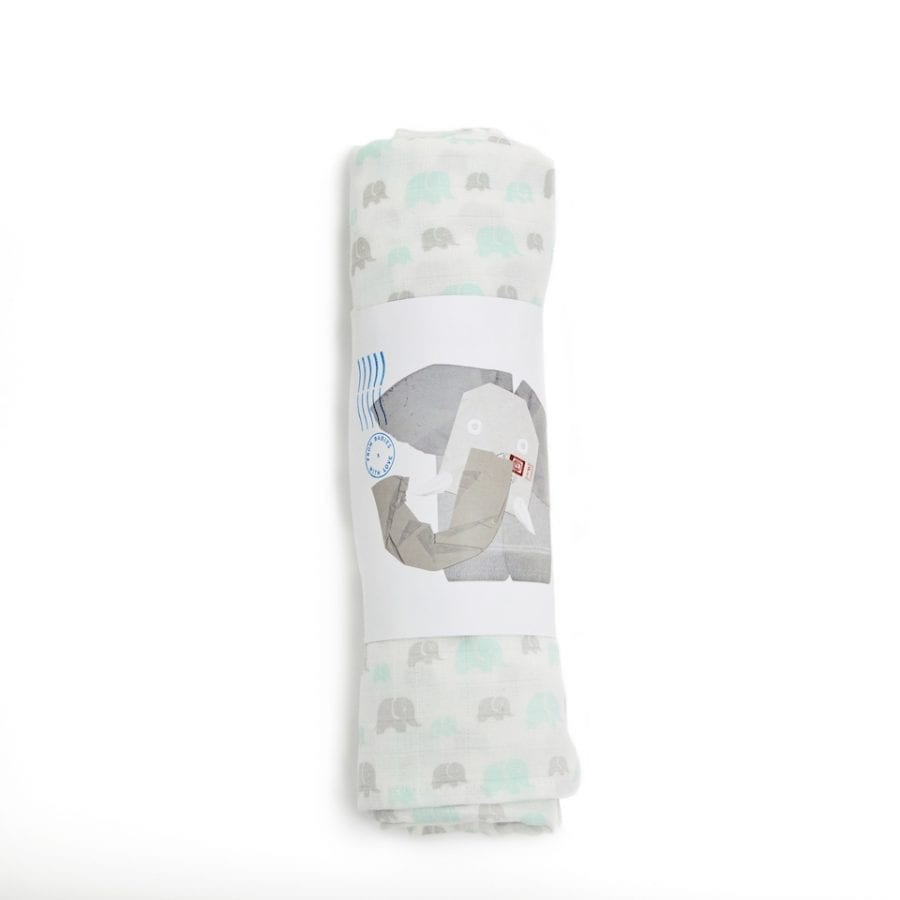 Susie J Verrill x from babies with love grey mint elephant swaddle