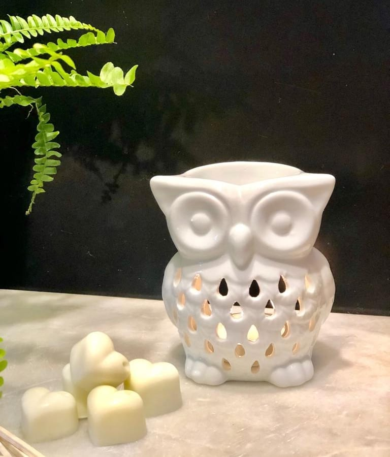 White ceramic owl Burner